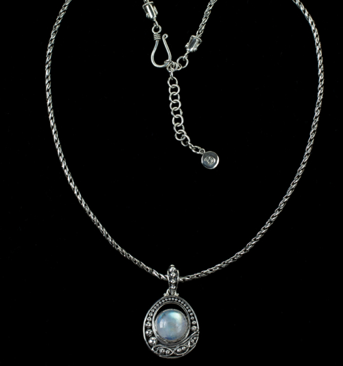 Rainbow Moonstone Balinese Necklace handcrafted in Sterling Silver