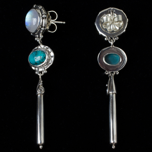 Moonstone Turquoise Post Earrings handcrafted in Sterling Silver with Rainbow Moonstones and Tibetan Turquoise