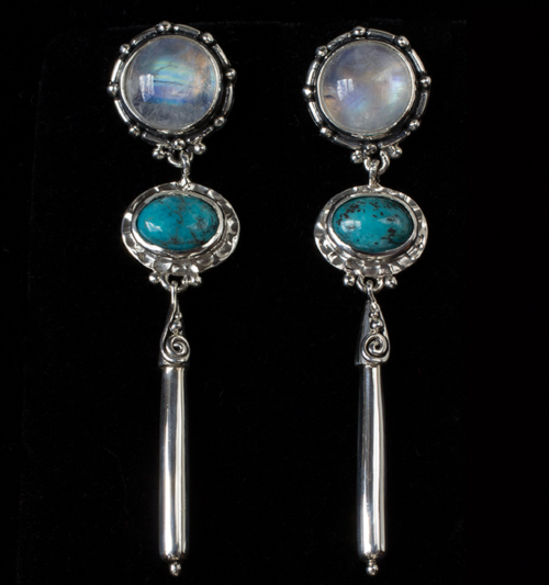 Moonstone Turquoise Post Earrings handcrafted in Sterling Silver with Rainbow Moonstones and Tibetan Turquoise gemstones