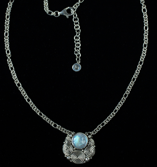 Round Moonstone Necklace handcrafted in Sterling Silver in a Balinese design