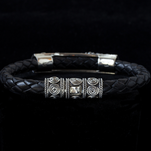 Men's Silver Leather Bracelet handcrafted in Sterling Silver with a Balinese design