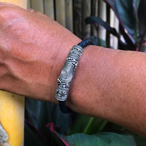 Men's Silver Leather Bracelet handcrafted in Sterling Silver