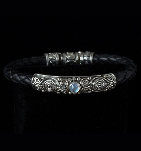 Moonstone Leather Bracelet handcrafted in Sterling Silver with Rainbow Moonstone and black genuine leather bolo