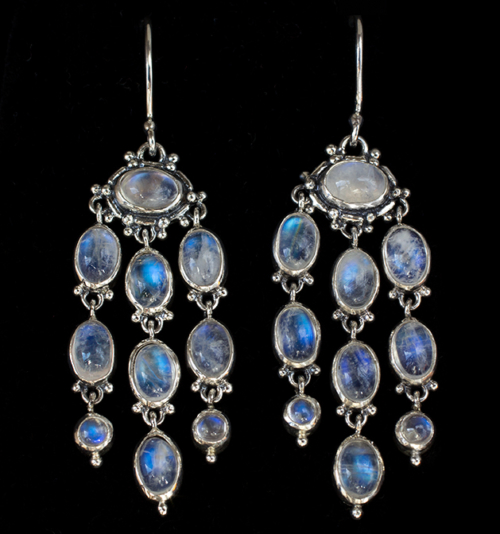 Rainbow Moonstone Chandelier Earrings handcrafted in Sterling Silver with dangling Moonstones in a Victorian style