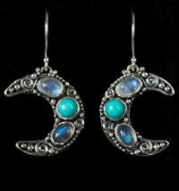 Crescent Moon Gemstone Earrings handcrafted in Sterling Silver with Rainbow Moonstones, Labradorite & Tibetan Turquoise gemstones