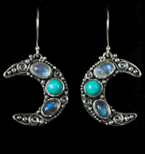 Crescent Moon Gemstone Earrings handcrafted in Sterling Silver with Rainbow Moonstones, Labradorite & Tibetan Turquoise gemstones