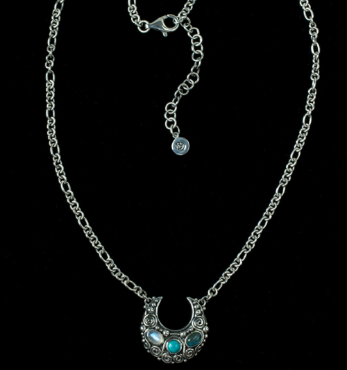 Gemstone Crescent Moon Necklace handcrafted in Sterling Silver with Rainbow Moonstone, Labradorite & Tibetan Turquoise gemstones