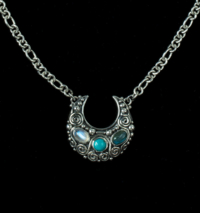 Silver Gemstone Crescent Moon Necklace