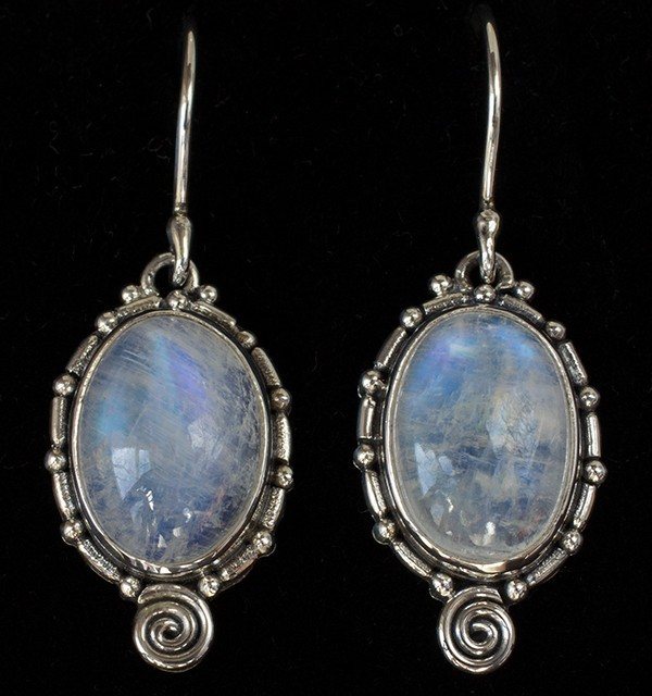 Oval Rainbow Moonstone Earrings handcrafted in Sterling Silver in a Balinese inspired spiral design