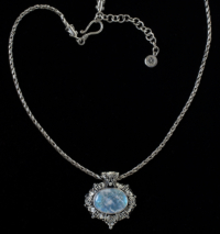 Oval Moonstone Necklace handcrafted in Sterling Silver with a large Rainbow Moonstone set in a Balinese design