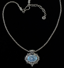 Moonstone Balinese Necklace handcrafted in Sterling Silver with a large oval Rainbow Moonstone