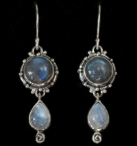 Labradorite Moonstone Earrings handcrafted in Sterling Silver with round Labradorite gemstones with dangling Rainbow Moonstones