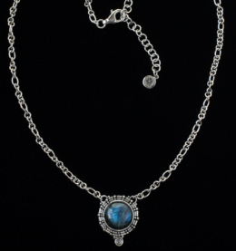 Silver Labradorite Balinese Necklace handcrafted in Sterling Silver with a round Labradorite gemstone set in a Balinese-inspired spiral design