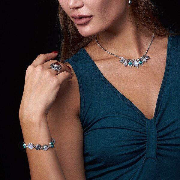 Semi Precious Gemstone Bracelet handcrafted in Sterling Silver with Rainbow Moonstones, Labradorite & Tibetan Turquoise gemstones
