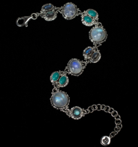 Semi Precious Gemstone Bracelet handcrafted in Sterling Silver with Rainbow Moonstone, Labradorite & Tibetan Turquoise gemstones set in a Balinese design