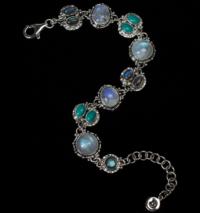 Semi Precious Gemstone Bracelet handcrafted in Sterling Silver with Rainbow Moonstone, Labradorite & Tibetan Turquoise gemstones set in a Balinese design