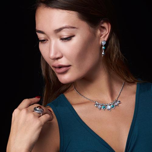 Dangling Gemstone Post Earrings handcrafted in Sterling Silver with Rainbow Moonstone, Labradorite & Tibetan Turquoise gemstones