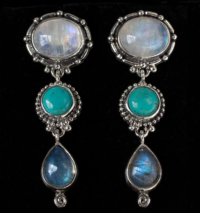 Dangling Gemstone Post Earrings handcrafted in Sterling Silver with Rainbow Moonstones, Labradorite and Tibetan Turquoise gemstones