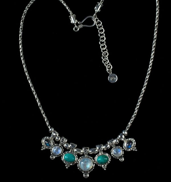 Semi Precious Stone Necklace handcrafted in Sterling Silver with Rainbow Moonstone, Labradorite & Tibetan Turquoise gemstones