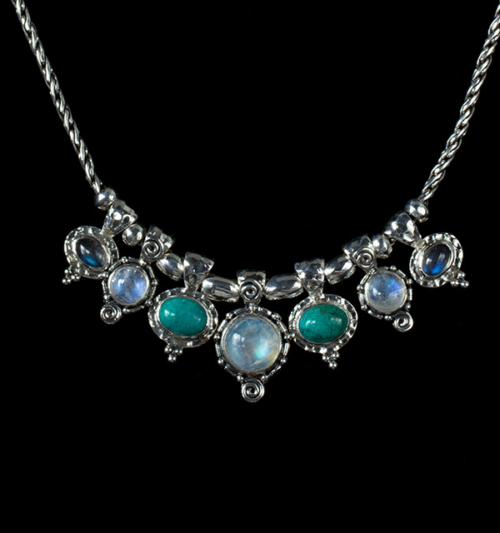 Sterling Silver Semi Precious Gemstone Necklace