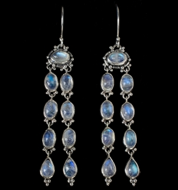 Long Dangling Moonstone Earrings handcrafted in Sterling Silver with Rainbow Moonstones