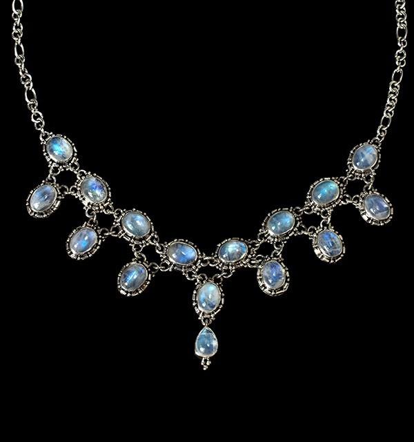 Victorian Rainbow Moonstone Necklace