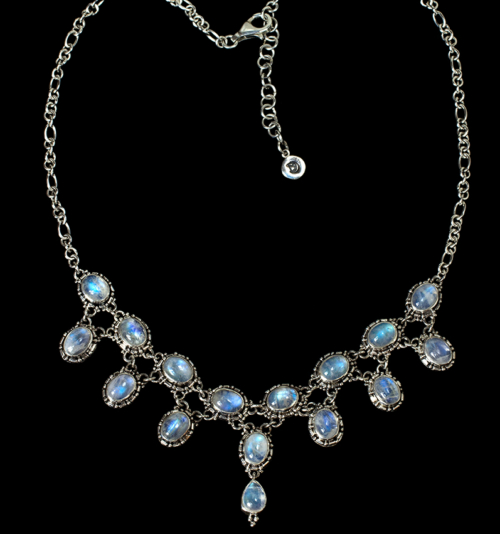 Silver Victorian Rainbow Moonstone Necklace