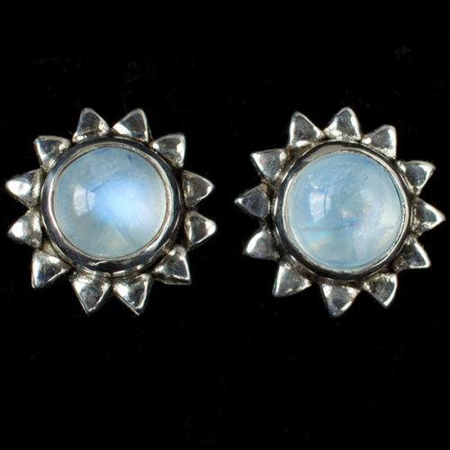 Moonstone Sun Stud Earrings handcrafted in Sterling Silver with Rainbow Moonstones