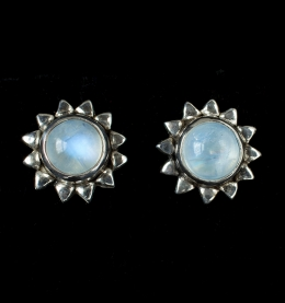 Moonstone Sun Stud Earrings handcrafted in Sterling Silver with Rainbow Moonstone gemstones