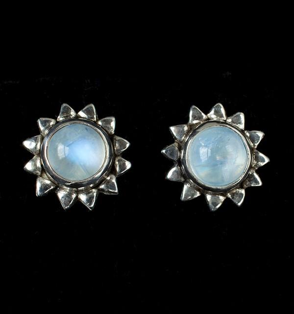 Moonstone Sun Stud Earrings handcrafted in Sterling Silver with Rainbow Moonstone gemstones