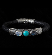 Silver Gemstone Leather Bracelet handcrafted in Sterling Silver with Rainbow Moonstone, Labradorite, Tibetan Turquoise and black genuine leather bolo