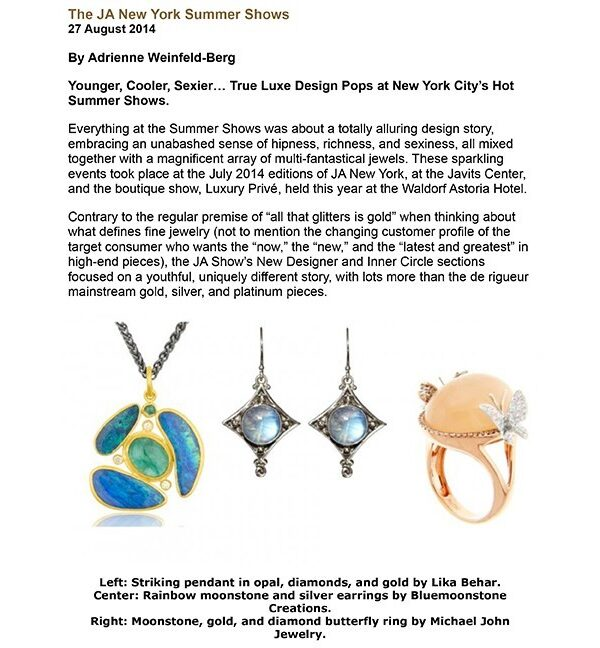 Bluemoonstone Creations Jewelry featured in Trend & Colours Magazine