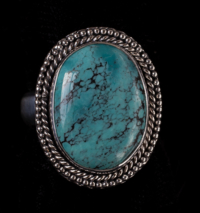 Silver Tibetan Turquoise Ring handcrafted in Sterling Silver