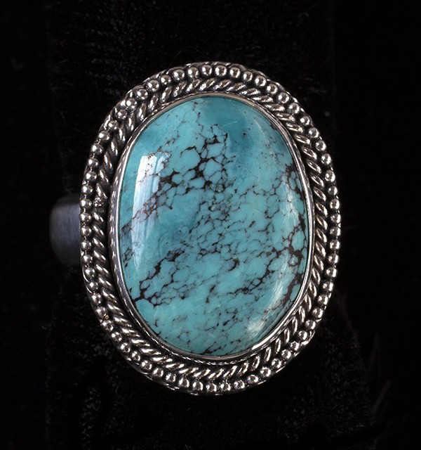 Tibetan Turquoise Gemstone Jewelry 925 Sterling Silver Handmade Ring S US 8