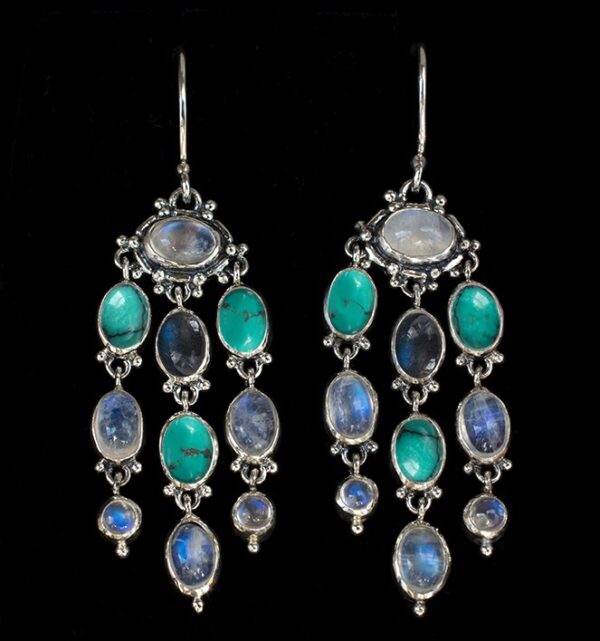 Gemstone Chandelier Earrings handcrafted in Sterling Silver with Rainbow Moonstone, Labradorite & Tibetan Turquoise gemstones