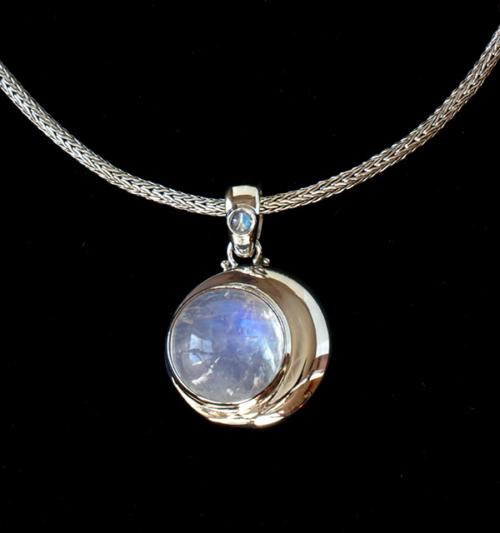 Rainbow Moonstone Crescent Moon Necklace