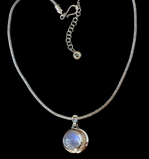 Moonstone Moon Necklace handcrafted in Sterling Silver with Rainbow Moonstone gemstones