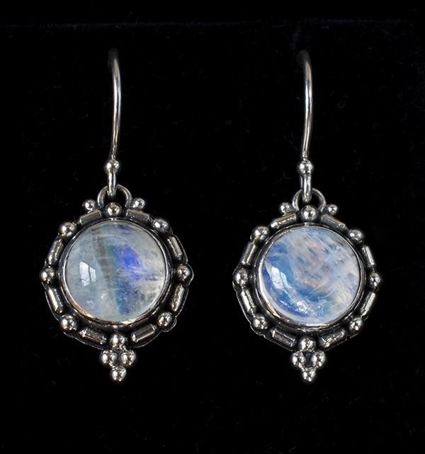 Balinese Moonstone Earrings handcrafted in Sterling Silver with Rainbow Moonstones