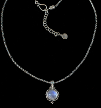 Balinese Moonstone Pendant handcrafted in Sterling Silver with 2 Rainbow Moonstones and a handmade Sterling Silver chain