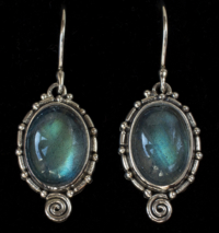 Silver Oval Labradorite Earrings handcrafted in Sterling Silver in a Balinese-inspired setting.