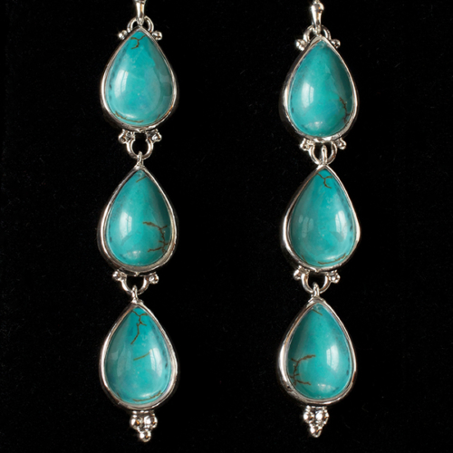 Tibetan Turquoise Dangle Earrings handcrafted in Sterling Silver