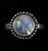 Round Rainbow Moonstone Ring handcrafted in Sterling Silver