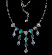 Dangling Gemstone Necklace handcrafted in Sterling Silver with Rainbow Moonstone, Labradorite & Tibetan Turquoise gemstones