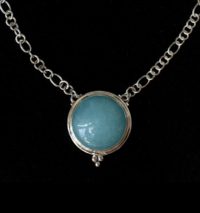 Round Larimar Sterling Silver Necklace