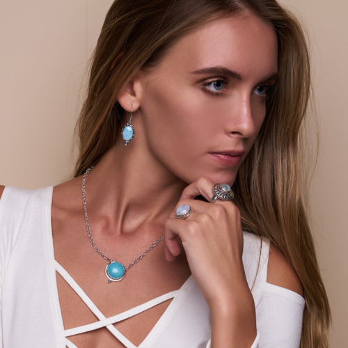 Sterling Silver Round Larimar Necklace