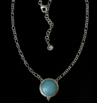 Round Larimar Necklace handcrafted in Sterling Silver