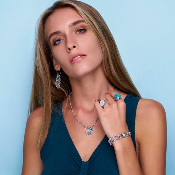 Crescent Moon Gemstone Necklace