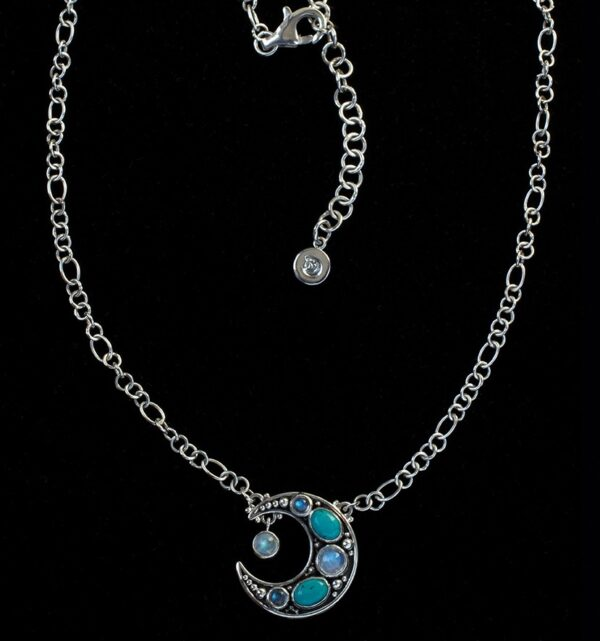 Crescent Moon Stone Necklace handcrafted in Sterling Silver with Rainbow Moonstone, Labradorite and Tibetan Turquoise