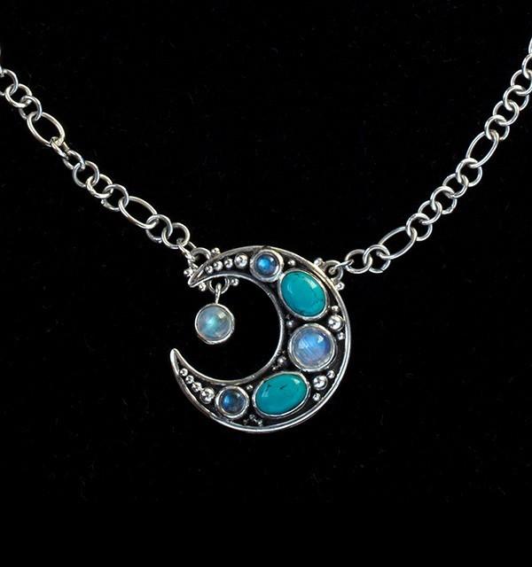 Crescent Moon Semi-Precious Gemstone Necklace