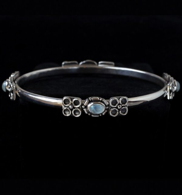 Balinese Rainbow Moonstone Bangle handcrafted in Sterling Silver